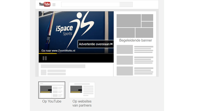Voorbeeld TrueView InStream video advertentie